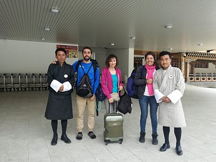 Gonzalo, Concepcion and Cecilia at the Paro airport